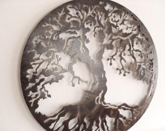 "60 cm (23.5"") Tree Of Life, Framed, Antique Look Metal Art"