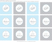 Polka Dot Baptism- Blue and Grey Cupcake Toppers- print your own