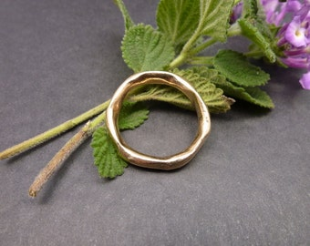 Thin Golden Bronze Ring, Organic Stackable Ring, Stacking Ring