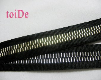 2 Yard Vintage Zipper Ribbon Embroidered - Black and Silver