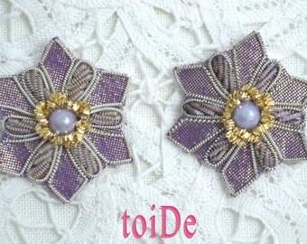 Purple Flower 3 Sew On Indian Beaded Applique