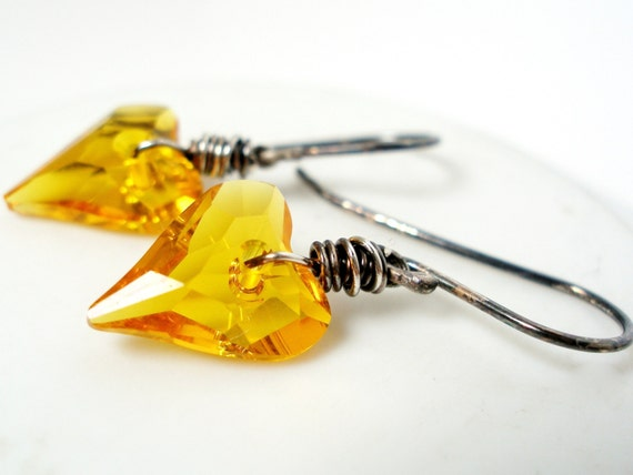 Swarovski Sunflower Yellow Heart Earrings Wire Wrapped Oxidized Sterling Silver Wild Hearts