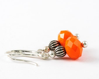 Orange Earrings, Small Earrings, Small Orange Earrings, Faceted Crystal Earrings, Everyday Earrings, Gift for Daughter, Gift For Girlfriend