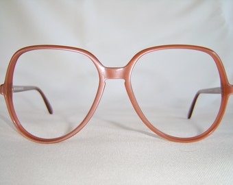 Vintage '80'S Silhouette Designer Eyeglasses, 56mm Eyesize, Peach, Keyhole Bridge, Austria, New Old Stock