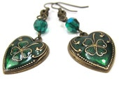 Enamel Heart Shamrock Clover Earrings, Antique Gold Finish, Emerald Swarovski Crystals. St Patricks Day - CatjuHandmadeJewelry