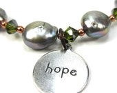 """Silver Pearl Bracelet with Olivine Green Swarovski Crystals """"Pearls of Hope for Haiti"""", 8-1/2 inches"""
