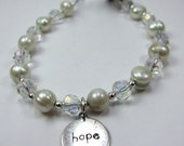 """Bracelet of Light Blue Pearls, Very Light Blue Tinted """"Pearls of Hope for Haiti"""" Pearl and Crystal Bracelet"""