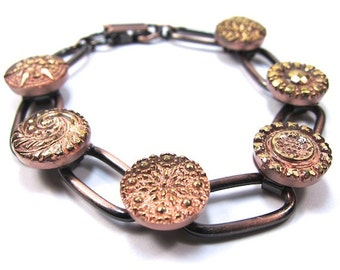 Copper Czech Glass Button Bracelet
