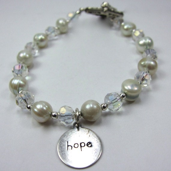"Bracelet of Light Blue Pearls, Very Light Blue Tinted ""Pearls of Hope for Haiti"" Pearl and Crystal Bracelet"