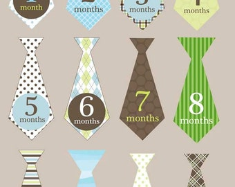 Iron on or sticker monthly tie decals for boys brown green striped argyle plaid