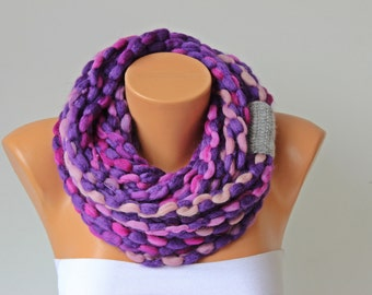 crochet lariat scarf, infinity chain scarf,  lariat  scarf,