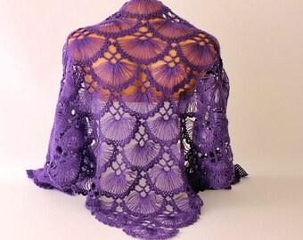 Clearance Sale -  Purple Bridal shawl crochet shawl scarf Bridesmaid gift  crocheted shrug capelet wrap