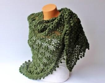 Sale -  Dark green Bridal shawl crochet shawl scarf Bridesmaid gift  crocheted shrug capelet wrap -