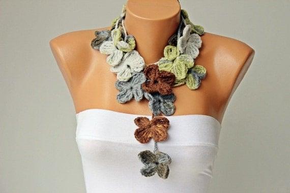 lariat sciarpa all uncinetto fiore scarfochet gioielli