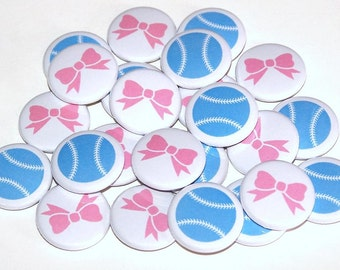 "Baseballs & Bows Gender Reveal Party Set of 24 Buttons Baby Shower Favor 1"" or 1.5"" or 2.25"" Pin Back Button Pink Blue 1"" Magnets"