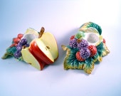 Vintage Pair of Candle Holders with Grape Leaves and Grapes Apples