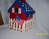 July 4 th  Holiday Birdhouse Tissue Box Cover