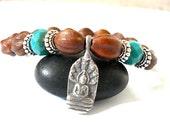 Buddha Charm Bracelet, Olivewood, Czech Glass, Silver Buddha Charm
