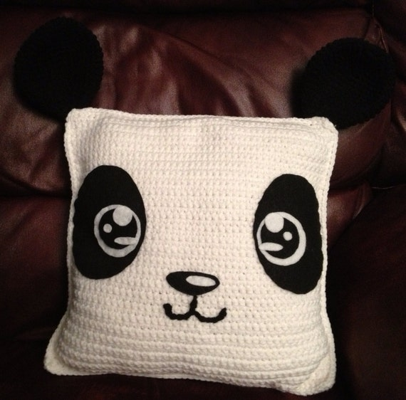 Diy Crochet Throw Pillow : Items similar to DIY PDF Crochet Panda Pillow Pattern: Medium Difficulty Crochet on Etsy