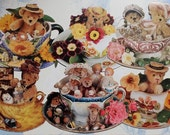 Die cut Tea Cup Note Cards with Antique Bears, Handmade Bears and Miniatures