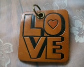 Vintage Mid Century Groovy Boxed Love with Heart Leather Keychain