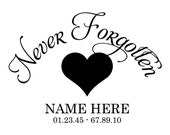 "Car Window Vinyl Outdoor Lettering 12"" x 12"" Custom Customized Personalized In Loving Memory Decal Sticker Tribute Memorial In Memoriam"