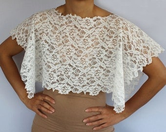 Bridal Lace Shrug, Bridal Cape, Shabby Chic Cream Cotton Lace Top Wedding Bolero Lace Unique Design Romantic