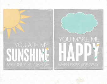 Childrens Print, Typography Poster, Digital Print, Kids Wall Art You are My Sunshine Digital Poster Duo