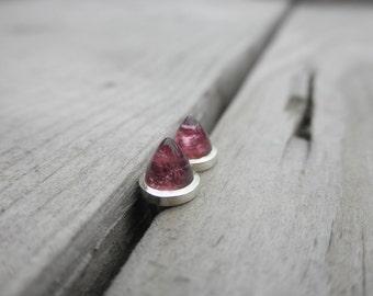 Pink Tourmaline earrings Handmade Bezel Setting