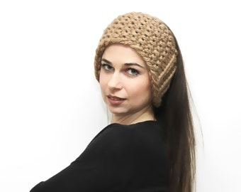 Beige Headband Bulky Knit Head Band, Earwarmer Headwarmer by Solandia Knitting accessories Women Fashion winter ski knitted gift