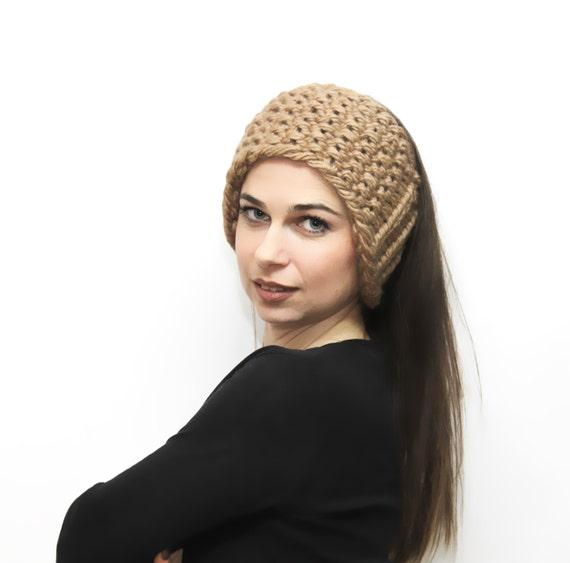 Beige Headband Bulky Knit Head Band Earwarmer Headwarmer by