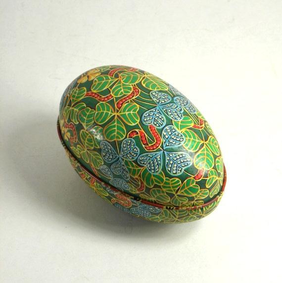 Vintage Tin Egg Box, irish Shamrock Pattern & Gold Accents