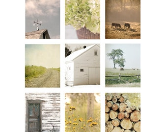 Country Home Decor Set, 9 Rustic Photos,wall art set, farmhouse photos, barn photo, farm home decor, cottage chic, barn, art print