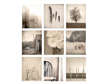 Wall Art Photo Set, farmhouse photography, rustic decor, fine art photography, cottage chic, brown, photography, art print, set of 9