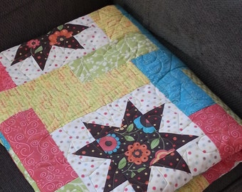 Summer Star and Flowers Blue Yellow Green Brown Lap Quilt Blanket Throw Blanket