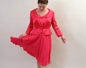 1950's silk dress and jacket in french pink