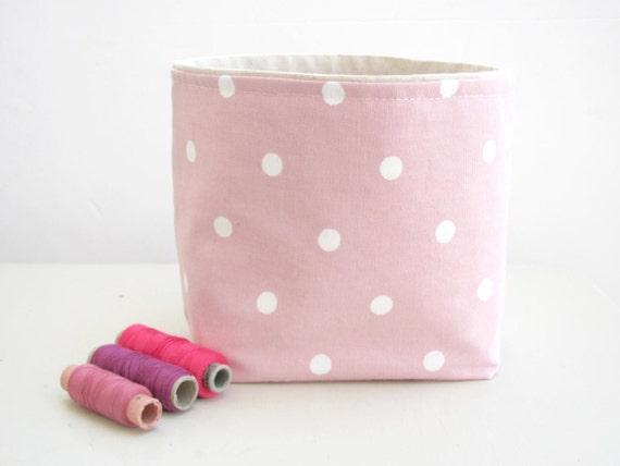 DOTTY Antique pink fabric storage bin, box, multipurpose organizer ...