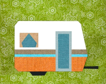 My little trailer quilt block, paper pieced quilt pattern, PDF pattern, instant download, Paper pieced quilt block pattern PDF