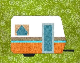 My little trailer quilt block, paper pieced quilt pattern, PDF pattern, instant download, Paper pieced quilt block pattern PDF