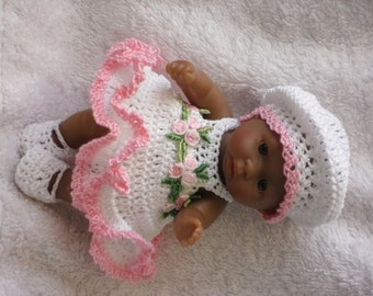 Crochet pattern for Berenguer 5 inch baby doll - dress, beret, knickers and shoes