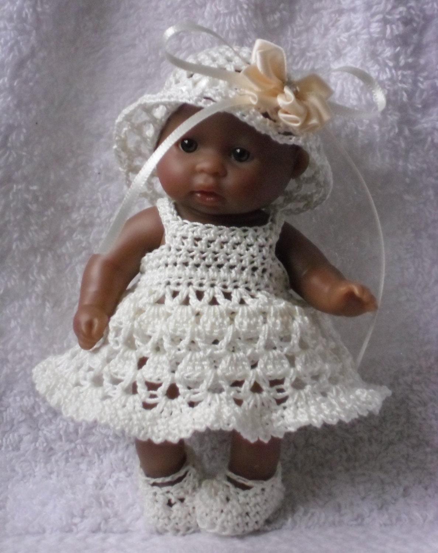 Crochet pattern for Berenguer 5 inch baby doll dress hat