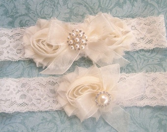 Wedding Garter- Wedding Garter Set- Toss Garter included  Ivory with Rhinestones and Pearls  Custom Wedding colors