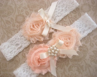 Bridal Garter Wedding Garter Set Toss Garter included Blush Roses Ivory with Rhinestones and Pearls  Custom Wedding colors