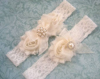 SALE Vintage Bridal Garter- Wedding Garter Set- Toss Garter included  Ivory with Rhinestones and Pearls  Custom Wedding colors