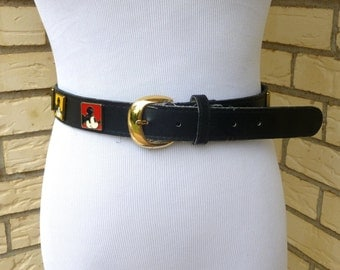 1980s Mickey Mouse Profile Belt Disney Black Colored Squares Womens Vintage Small Medium