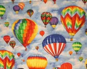Hot Air Balloon Bright Colors Sky Blue Cotton Fabric Fat Quarter or Custom LIsting