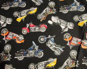 Motorcycle Bikes LTR Harley Choppers Black Cotton Fabric Fat Quarter Or Custom Listing