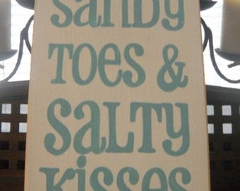 Sandy Toes and Salty Kisses Beach Cottage Chic Coastal House Decor Wooden Sign Plaque U-Pick Color