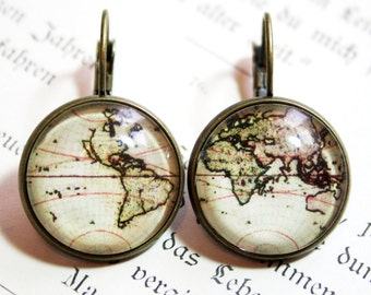 Antique World Map Earrings bronzecolored - travel globetrotter globe continents farewell gift sister best friend daughter mother jewelry
