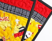 Chef Chicken - Handmade Quilted Potholders - Set of Two
